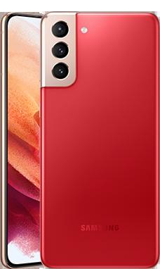 Galaxy S21のファントム レッド色の本体画像
