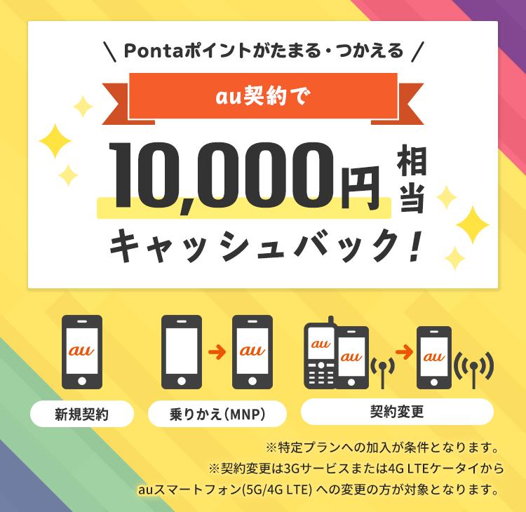 auオンラインショップ10,000円キャッシュバッククーポンの告知